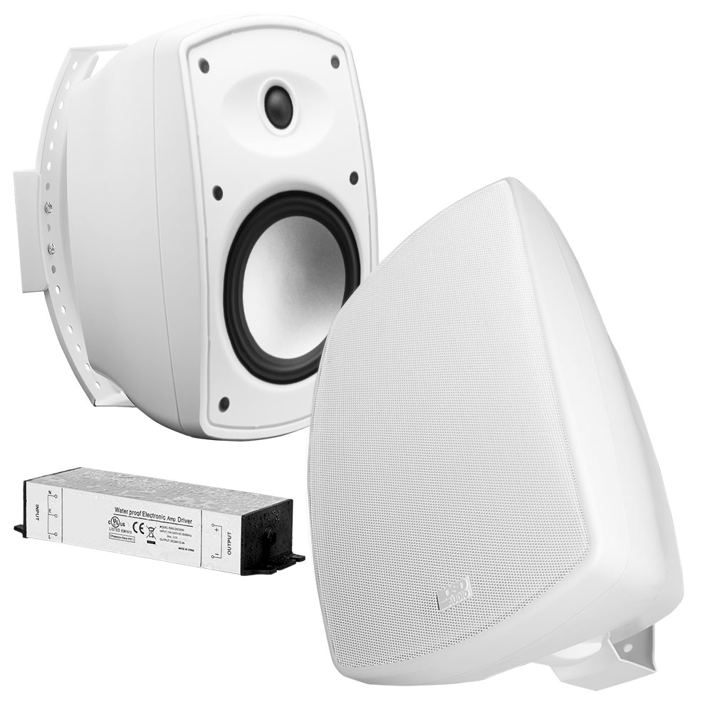 6 5 bluetooth wireless patio speaker pair w waterproof power supply black btp650