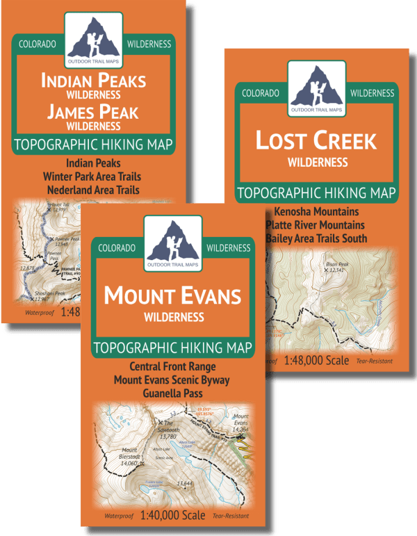 Map covers of the Denver / Boulder Area Backpacking Map Pack