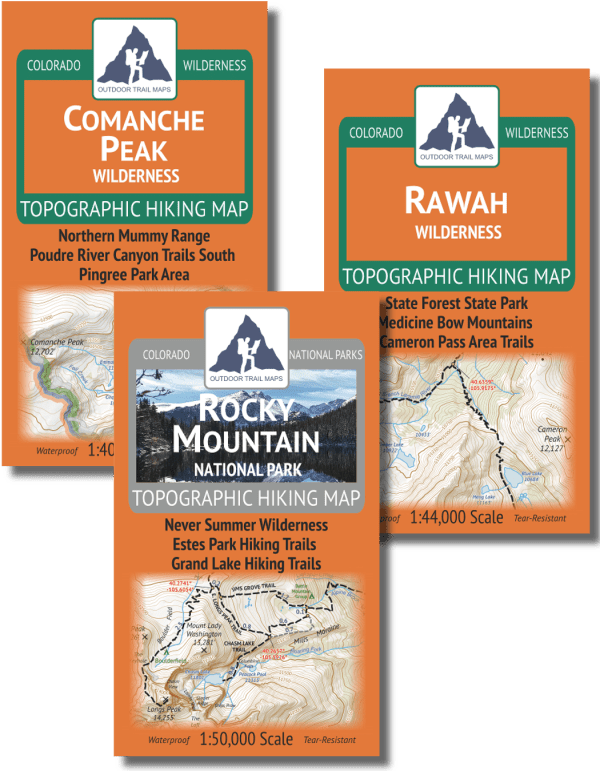 Map covers of the Fort Collins Area Wilderness Map Pack