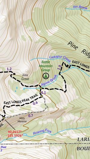 Crop of 14ers Map 3 of 16 Longs Peak Culebra Peak