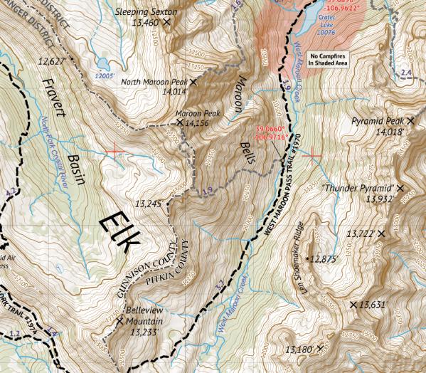 Maoon Bells - Snowmass Wilderness Map Crop 2