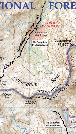 Maoon Bells - Snowmass Wilderness Map Crop 3