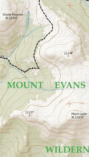 Mount Evans Wilderness Hiking Map Crop 2