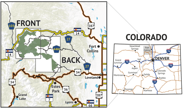 Location overview of Comanche Peak Wilderness Map