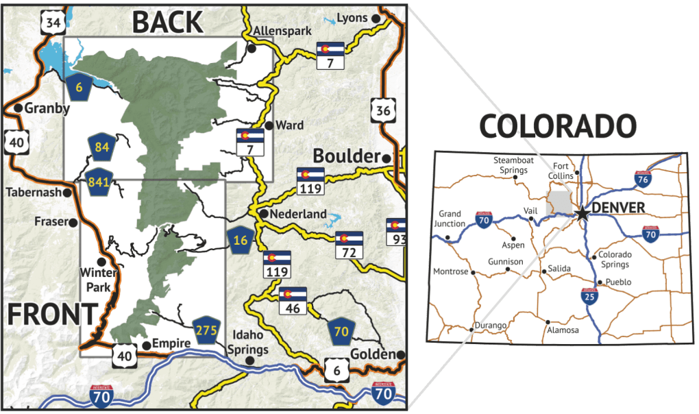 Location overview for Indian Peaks Wilderness / James Peak Wilderness Map