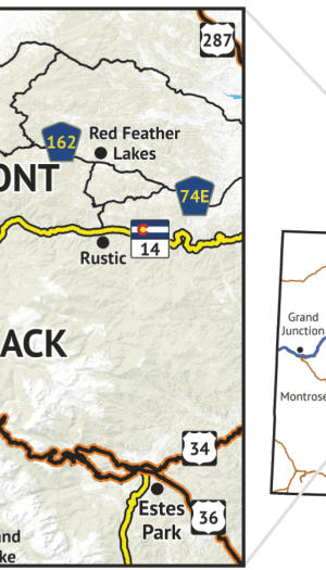 Location overview of Rawah Wilderness Hiking Map