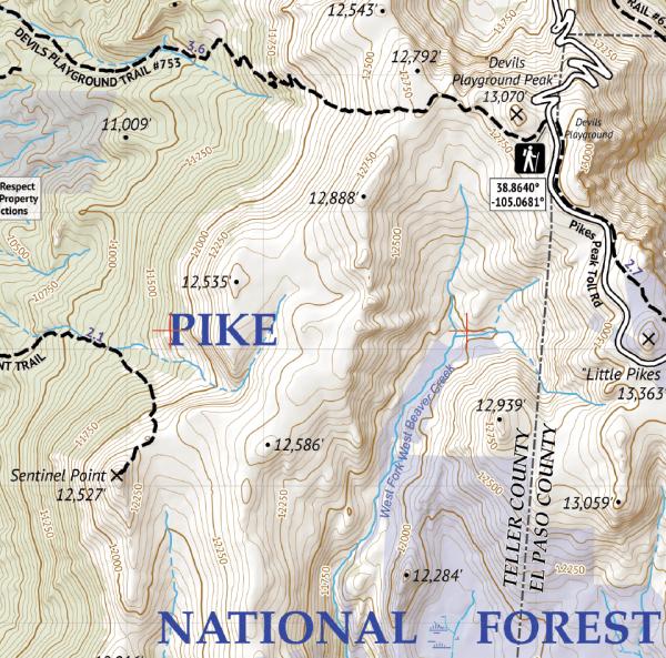 Pikes Peak and Colorado Springs Hiking Map Crop 1