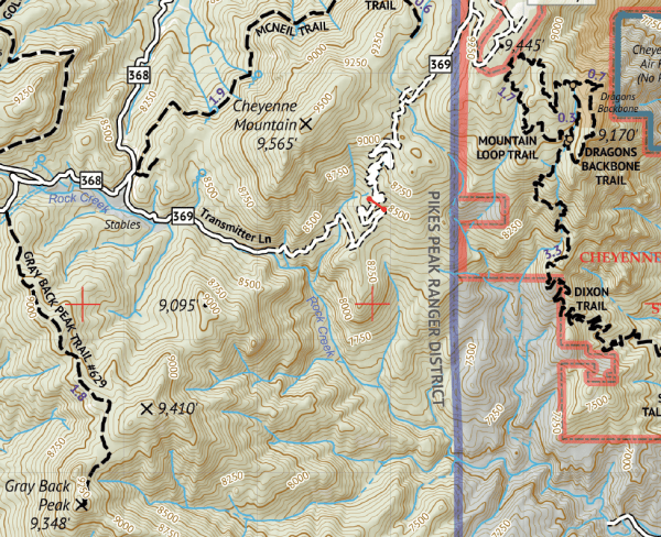 Pikes Peak and Colorado Springs Hiking Map Crop 2