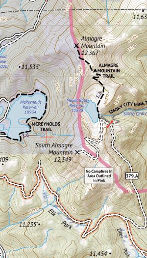 Pikes Peak and Colorado Springs Hiking Map Crop 3