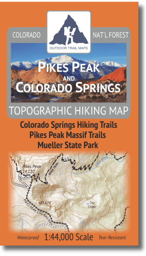 Cover of the Pikes Peak and Colorado Springs Hiking Map
