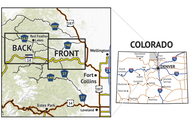 Location overview for the Poudre Canyon Hiking Map