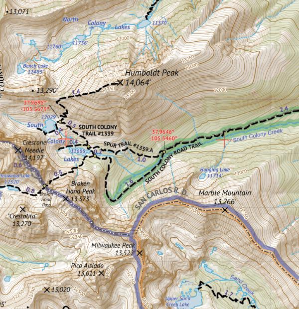 Sangre de Cristo Wilderness SOUTH Hiking Map Crop 1