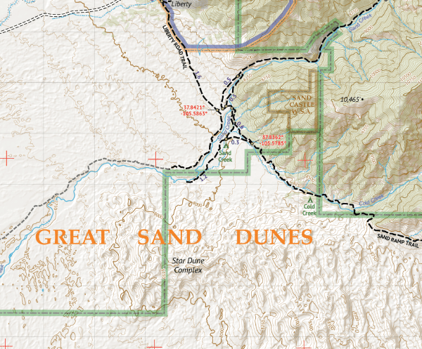 Sangre de Cristo Wilderness SOUTH Hiking Map Crop 2