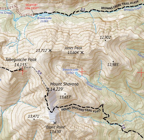 Sawtch Range South Hiking Map Crop 3