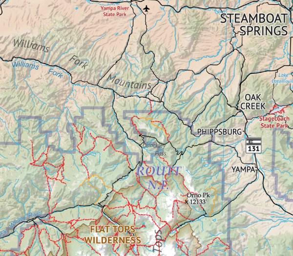 Crop of Hiker's Map of Colorado 2