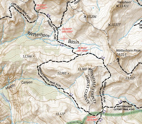 Uncompahgre Wilderness Hiking Map Crop 1