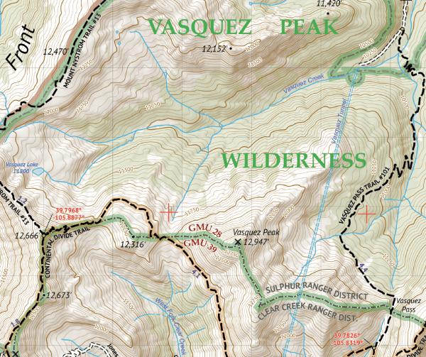 Vasquez / Byers / Ptarmigan Peak Wilderness Map Crop 1