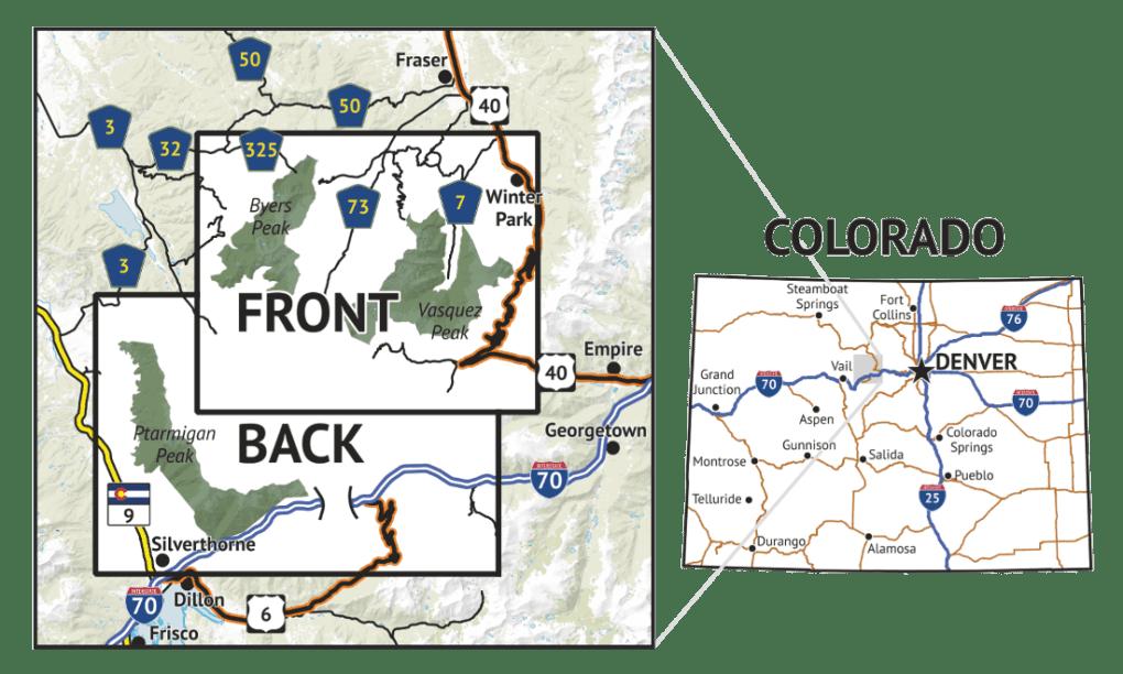 Location overview for Vasquez / Byers / Ptarmigan Peak Wilderness Map