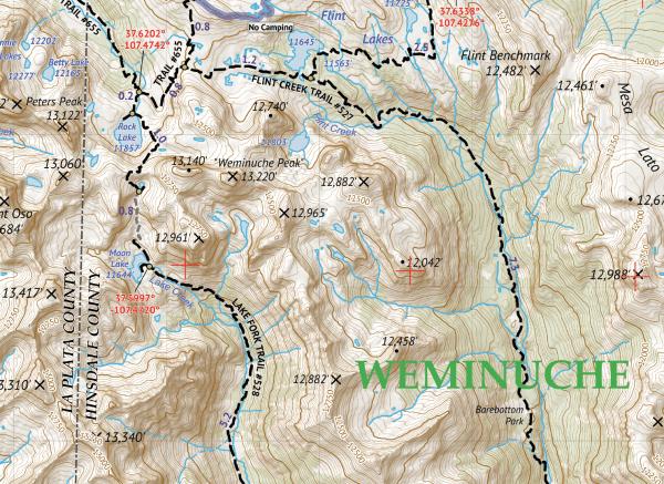 Weminuche Wilderness West Map Crop 3