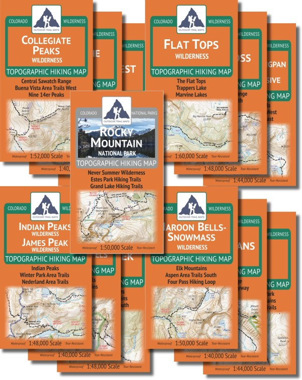 Map covers of the Wilderness Map Series Volume 1 Plus Rocky Mountain National Park