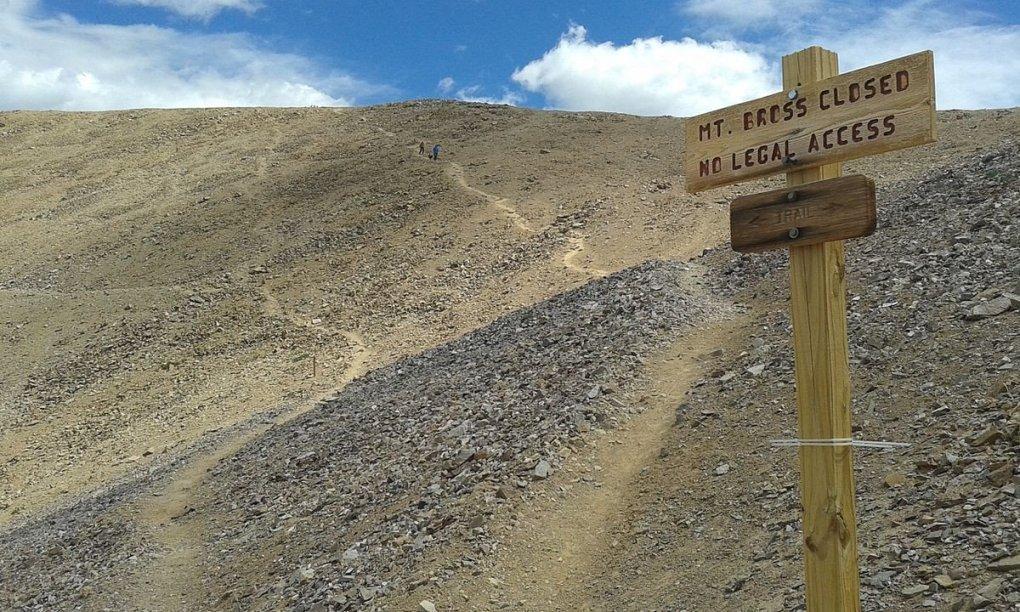 Mount Bross closed sign below summit