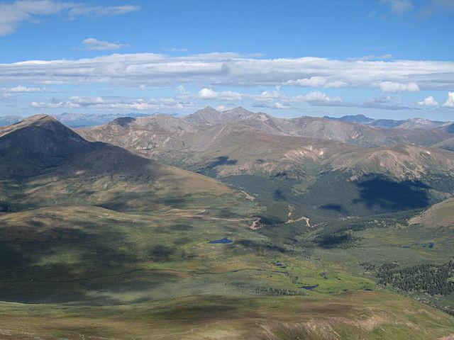 View from Mount Bierstadt down to Guanella Pass