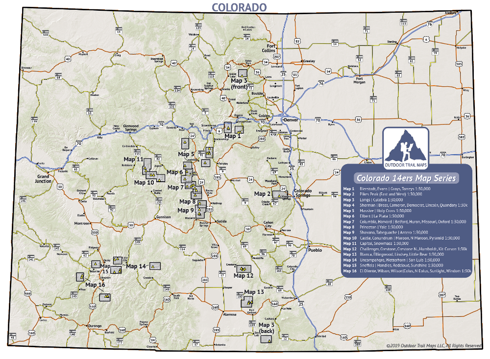 Outdoor Trail Maps 14ers Series Coverage