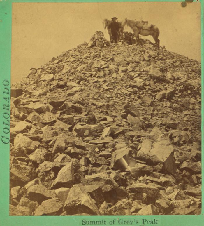 Early climber on summit of Grays Peak 1865-1885