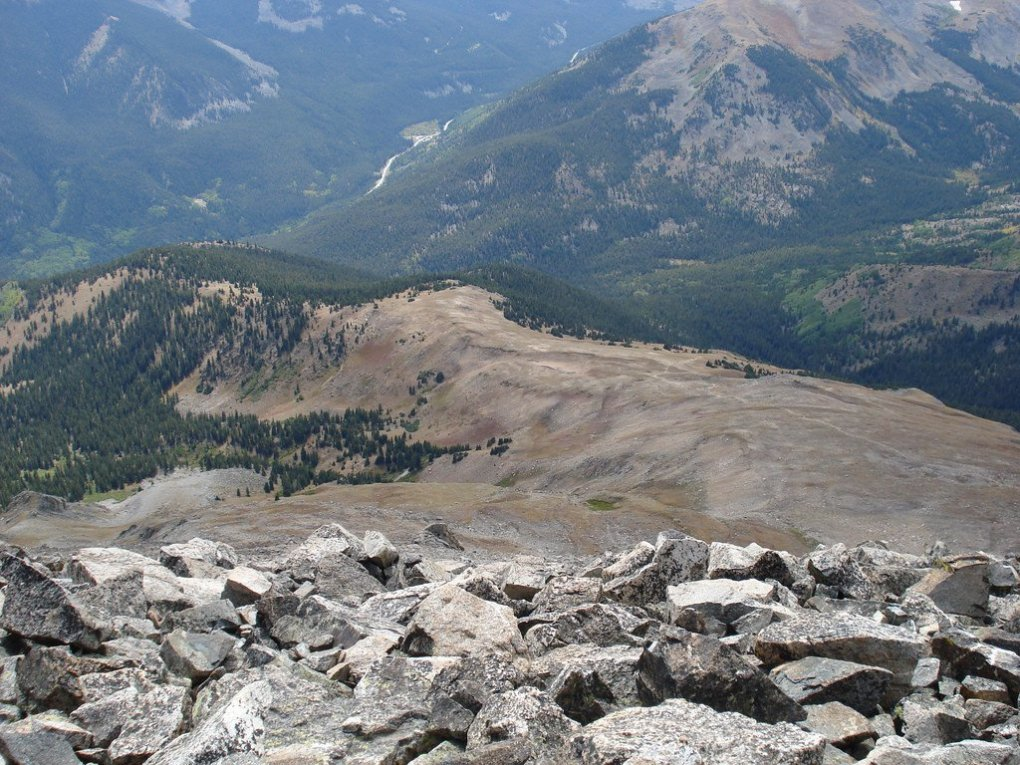 A look down the Mount Yale Trail