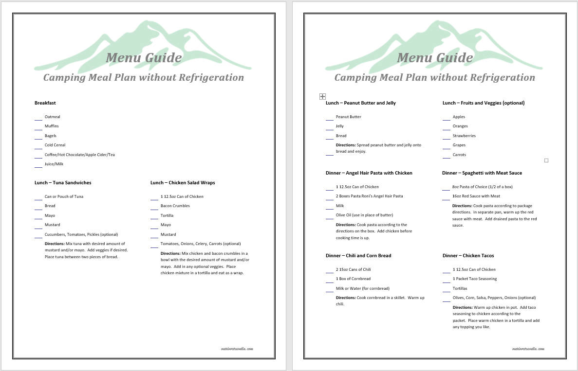 Camping Meal Plan Template Vatozozdevelopment
