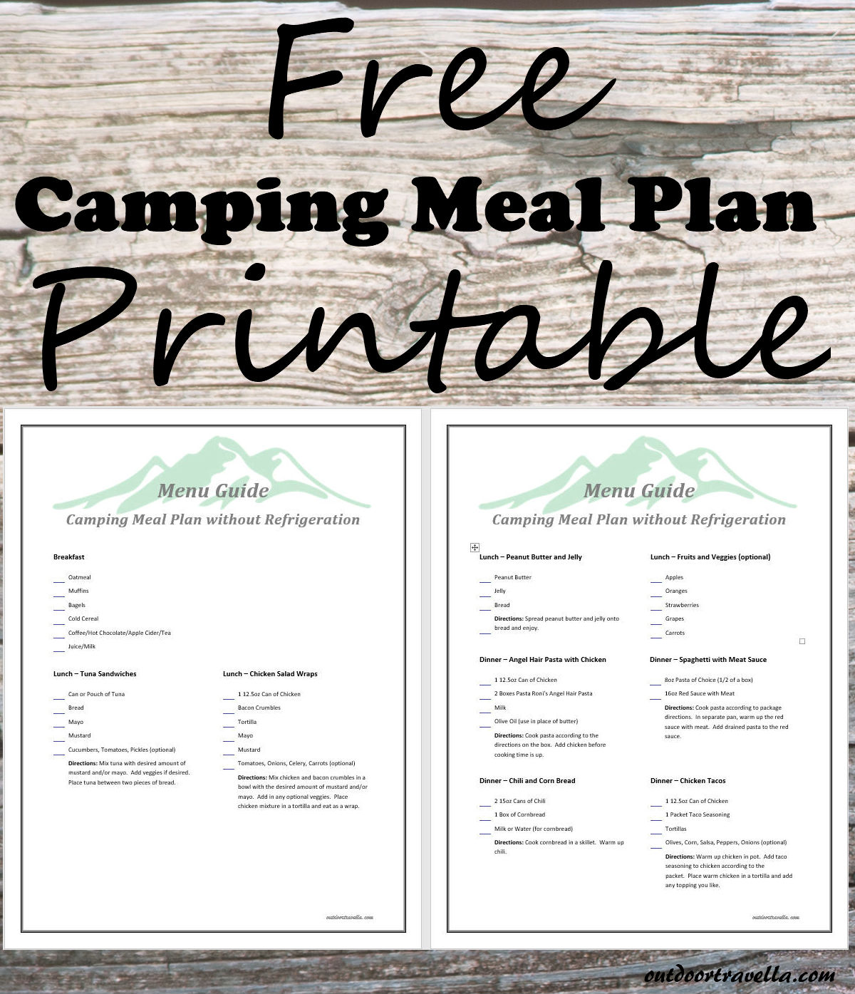 It's just a picture of Zany Camping Food List Printable