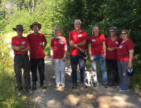 group of adults wearing red tops standing in woodland
