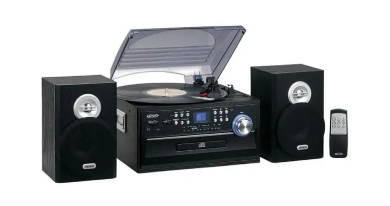JENSEN JTA-475B 3-Speed Stereo Turntable with CD System