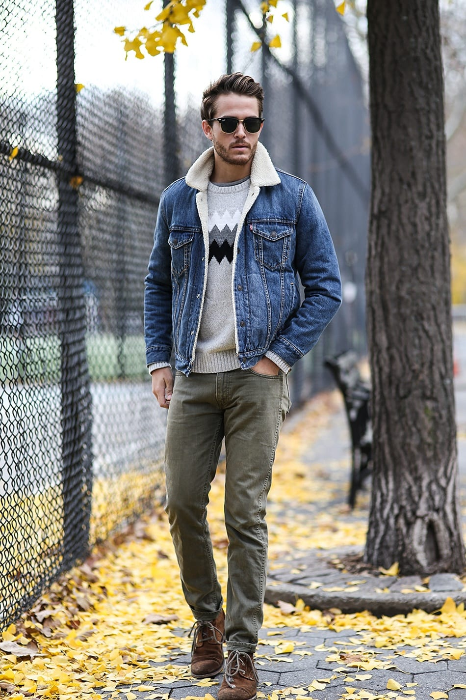 Men Shearling Jacket Outfits-22 Ways To Wear Shearling Jacket