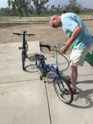 Unfolding the bikes at Rancho Juropa County Park