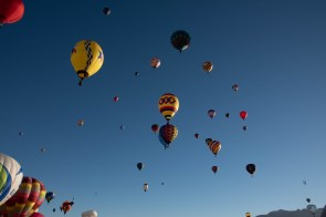 The sky is filled with balloons as more move in to take their place at launch sites