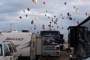 After the balloons passed over our RV - we are on the right. Note Darth Vader watching us.