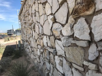 Rock wall at the Monahans Visitor Center looks like the rock on the Fanno Creek House in Oregon