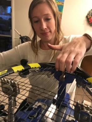 Megan strings her first racquet