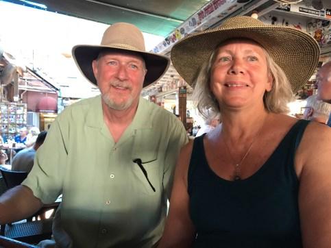 Enjoying a drink at Hog's Breath Saloon Key West