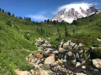 Beautiful waterfall at the base of Mount Rainier