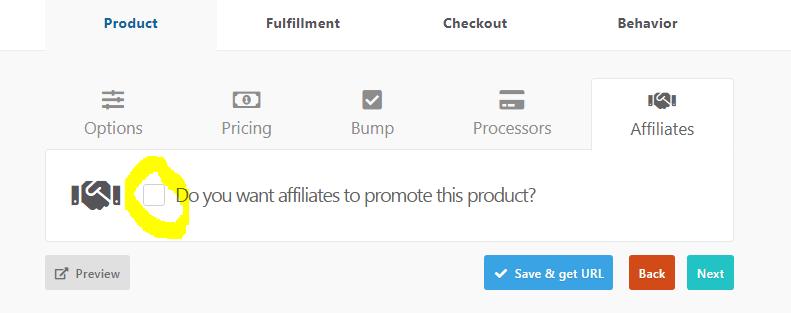 ThriveCart Affiliation d'un produit