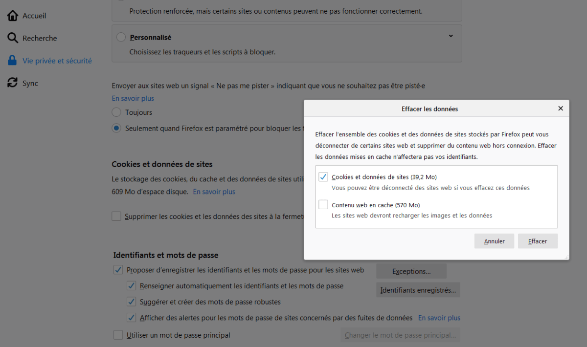 Suppression des cookies sur Firefox
