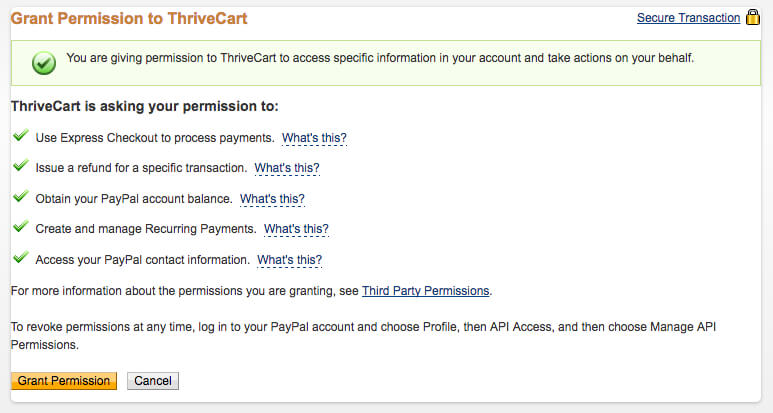 ThriveCart permissions PayPal
