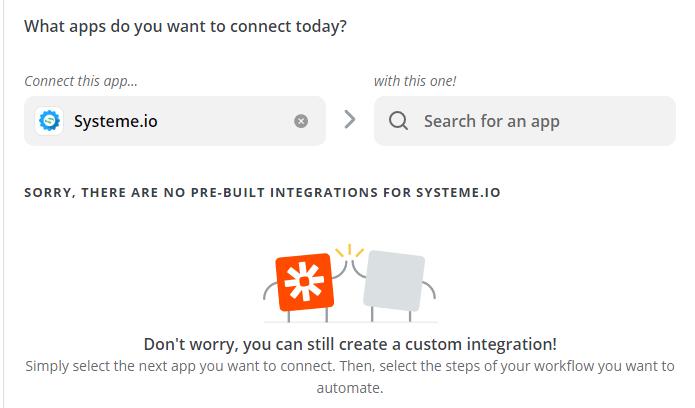 Zapier - Systeme.io - Choisir message
