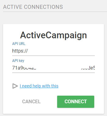 ThriveLeads - Parametrage ActiveCampaign OK