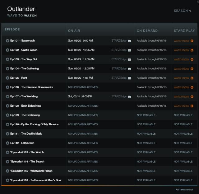 'Outlander' Episode Titles