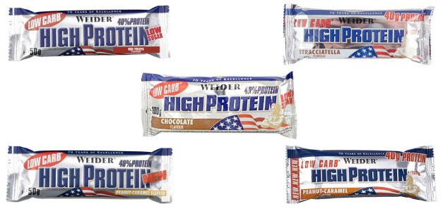 Barritas High Protein Weider bajas en carbohidratos en Outletsalud