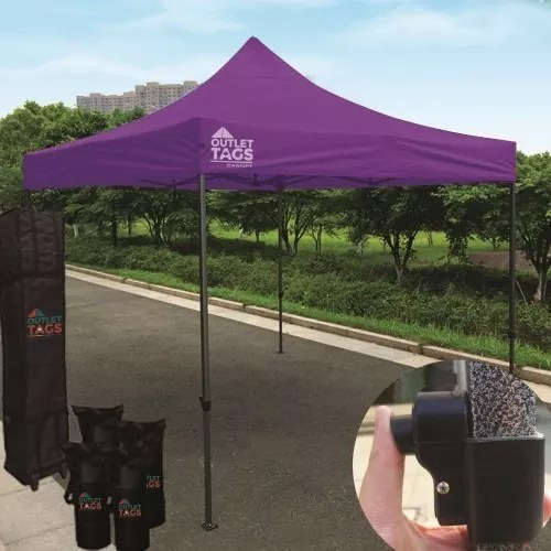 10x10 Iron Horse Canopy - Salt & Pepper Frame - Medium Quality - Purple