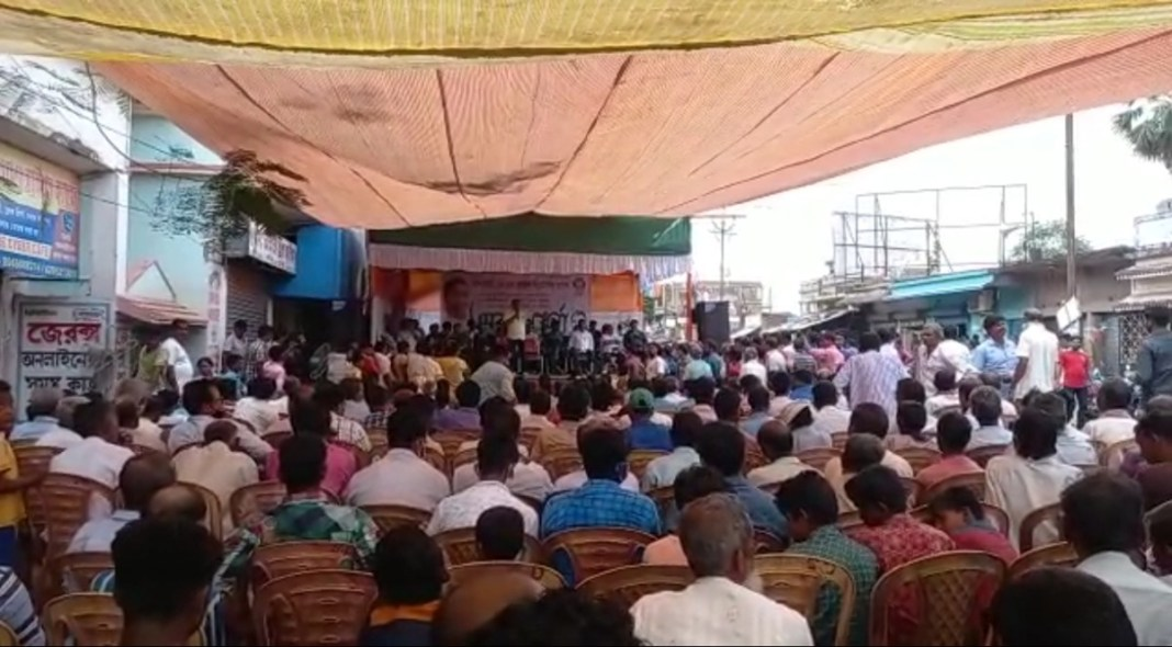 Dharna in protest of central government's deprivation, privatization and layoffs